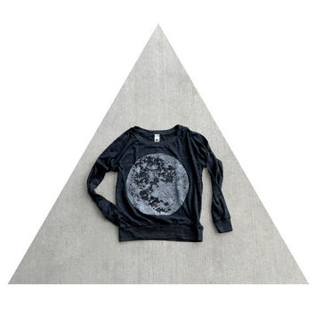 Women's pullover - SMALL - fall fashion - moon screenprint on Alternative Apparel eco-black lightweight raglans