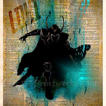 Loki, The Avengers dictionary art print, Super Hero Pop Art, Loki splatter art