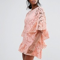Missguided Lace Kimono Sleeve Dress at asos.com