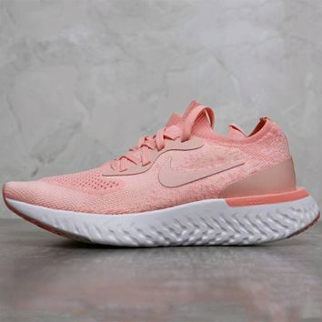 Nike EPIC REACT FLYKNIT fly line red stylish high-quality running shoes F-AHXF pink