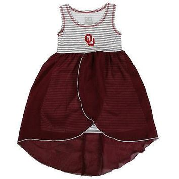 Licensed Oklahoma Sooners NCAA Tank Dress W/ Overlapping Flowing Overlay On Bottom KO_19_1