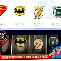 DC Comics Glass Mug Set - Superhero Insignias