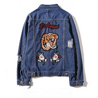''Gucci '' Women Men Lover Denim Cardigan Jacket Coat