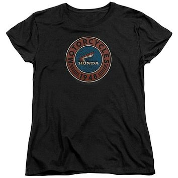 Honda Womens T-Shirt 1948 Vintage Motorcycle Oil Black Tee
