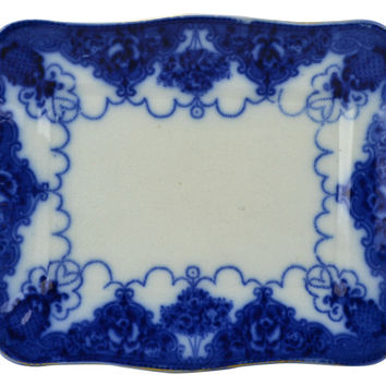 Small Flow Blue and White Serving Platter Antique English 1890s