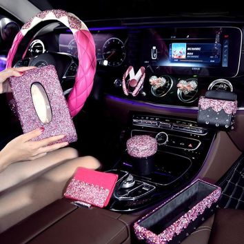 Pink Crystal Car Steering Wheel Covers for Woman Car Accessories