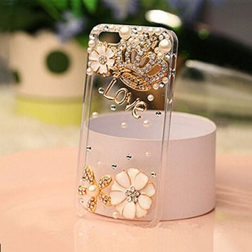 Rhinestone bling crystal pearl flower Crown Diamond clear transparent back cover luxury phone case for iphone 5 5S SE 6 6S Plus