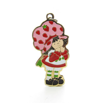 Strawberry Shortcake Pendant Gold Charm Vintage 1980