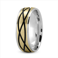 Wedding Band - Celtic Mens Ring with Black Rhodium in White and Yellow Gold