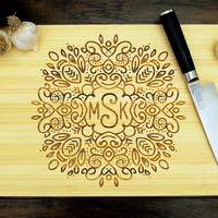 Personalized Cutting Board (Pictured in Natural), approx. 12 x 16 inches, Hand Drawn Wreath Monogram - Wedding gift, Anniversary gift