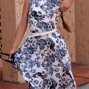 Retro Style Jewel Neck Floral Print Sleeveless Belted Flare Dress