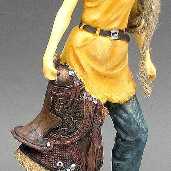 Resin Cowgirl Statue