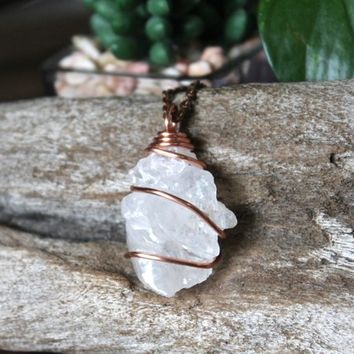 Elestial Quartz Necklace, Raw Crystal Jewelry, Rough Stone Pendant Wire Wrapped in Copper, Hippie Style, Pagan Festival Fashion, Talisman