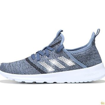 Women's Adidas Cloudfoam Pure Sneaker + Crystals - Blue/Black/White