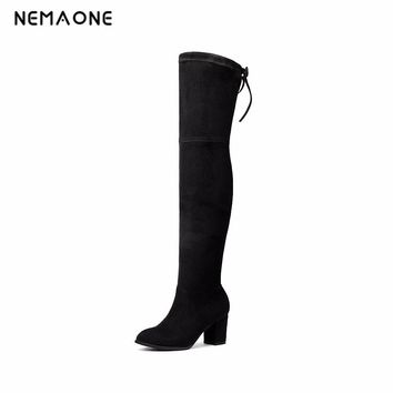NEMAONE 2017 New Women Suede Sexy Over the Knee Boots Sexy High Heels Boots spring autumn Women Shoes large size 34-43
