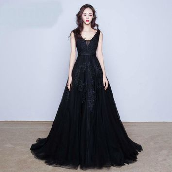 Small Train Long Evening Dress Backless Bride Banquet Elegant Party  Dress Robe