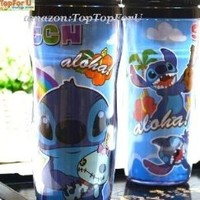 Leak Proof Disney Stitch Double Wall Plastic Thermos Travel Mug Coffee Tea Cup Lid 13-ounce
