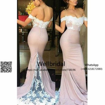 Blush Pink 2017  Bridesmaid Dress Long Off Shoulder Wedding Party Dresses with Appliques Prom Bridesmaid Dresses