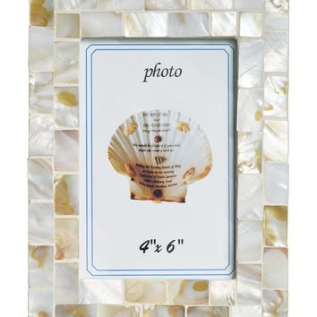 GIFTME 5 Mother of Pearl Mosaic Photo Frame Beach Ocean Picture Frame (4x6, White)