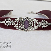 Countess Erzebet's choker-Gothic burgundy red velver ornament choker-gothic choker-victorian choker-choker-READY TO SHIP
