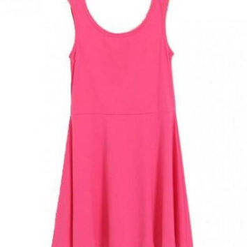Sleeveless Smock Dress in Pure Color