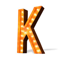 """K 24"""" Icon Vintage Marquee Light Up Letter"""