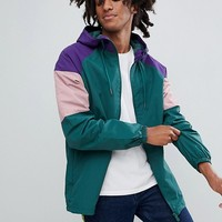 Pull&Bear Nylon Jacket With Coloured Panels In Green at asos.com