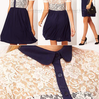 Lookbookstore Women Sexy White Lace Overlay Color Blocked Navy Collar Panels Skirt Light Dress @lookbookstore #lookbookstore