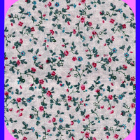 Cotton Fabric Granny Print Calico Pink Blue Red Green Remnant
