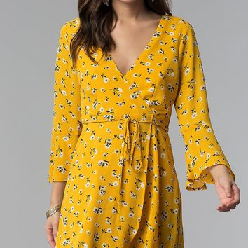 Short Floral-Print Wrap Party Dress with Sleeves