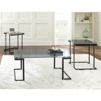 Steve Silver Dominic 3 Piece Glass Top Coffee Table Set