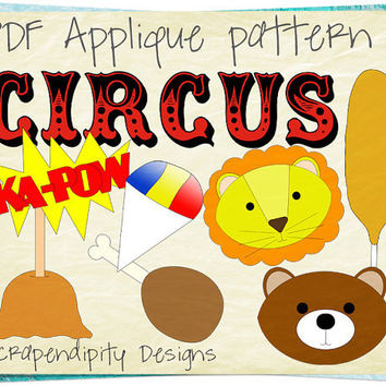 Circus Applique Pattern Bundle - 8 Applique Templates / Lion Applique Shirt / Baby Clothing / Nursery Quilt Pattern / Corn Dog Shirt