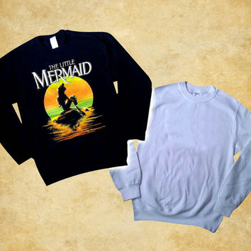 little mermaid moon pullover Sweatshirt Crewneck unisex adult size s,m,l,xl,xxl by bodrek