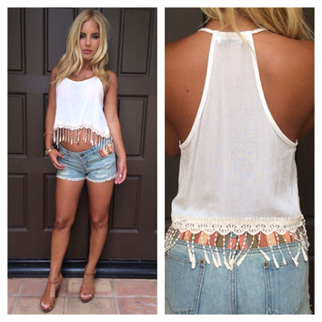 Morning Dew Crochet Fringe Tank - WHITE