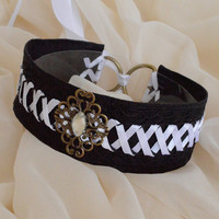White spirit - black gothic witch choker with resin stone and white lacing - lolita kitten pet play collar