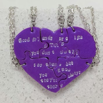 Puzzle Necklaces Friends are like Stars Set of 5 Necklaces Purple Polymer Clay Jewelry