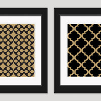 Black Gold Art, Art Deco Pattern, Modern Art, Black Gold Wall Art, Bedroom Art, Geometric Art, Wall Decor, Living Room Art