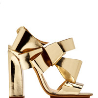 Metallic-Leather Bow-Detail Sandals by DELPOZO - Moda Operandi