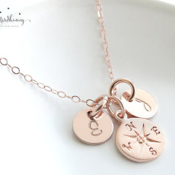 ROSE GOLD Compass Necklace Travel Necklace Graduation gifts College Graduation Gift Compass pendant Best friend long distance
