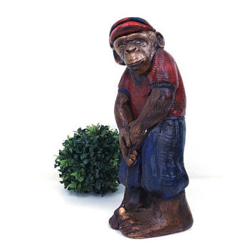 "vintage 70s 80s chalkware monkey 13"" statue golf club chimpanzee figurine figure kitsch retro golfing golfer home decor dad father men man"