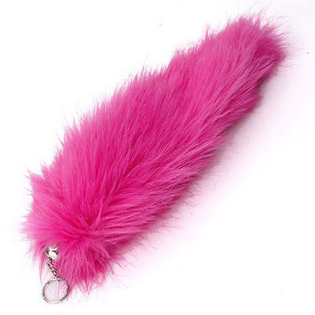 "HOT PINK FAUX FOX TAIL FOXTAIL KEYCHAIN 12"" CLIP-SOLID PINK FOXTAIL-BRAND NEW!"