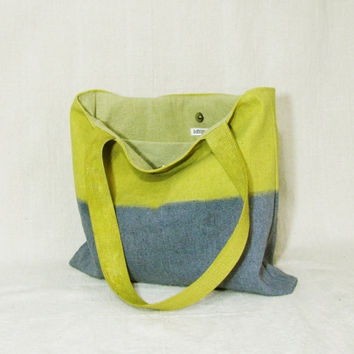 Canvas tote shoulder bag purse handbag large color block ombre light olive green and grey repurposed painter's canvas drop cloth
