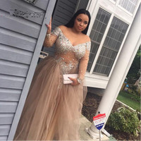 vestido de festa Plus Size African Prom Dresses Beaded Rhinestone A Line V Neck Long Sleeve Tulle Evening Gowns For Women
