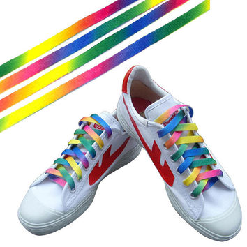 1 Pairs Rainbow Flat Canvas Athletic Shoelace Sport Sneaker Shoe Laces Strings