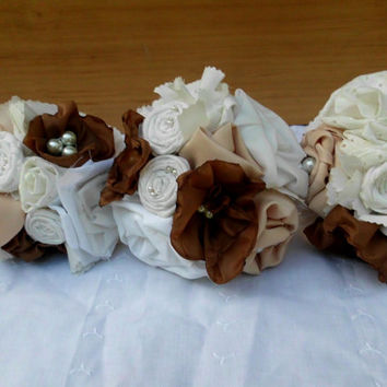 """Fabric Flower Bouquet, Wedding, Bridal, Custom, Shabby Chic Pearls, Rustic, Vintage, Lace, Country 10"""""""