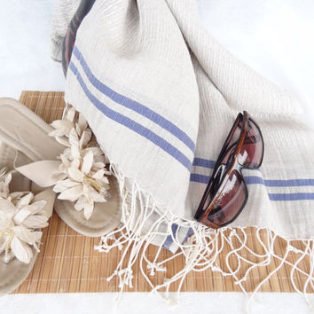 Linen Earth Tones, Blue Striped Peshtemal-Turkish PESHTEMAL-Spa,Bath,Beach,,Yoga,Pool,Fitness Towel