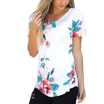 Fashion Womens T Shirts Floral  Short Sleeve O Neck Tops