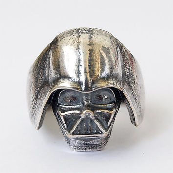 Darth Vader ring, Star wars, Star wars ring, Star wars jewelry, Darth Vader mask, Silver plated brass ring, Metal ring, Men rings, Size 11