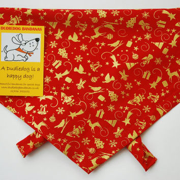 Red / Gold Ditsy Christmas Dog bandana. Super cute, Beautifully handmade in the Yorkshire Dales. Free UK P&P. Available in 7 sizes!