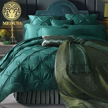 Medusa washed silk pleated fisher net bedding set king queen size duvet cover bed sheet  pillow cases 4/6pcs/turquoise